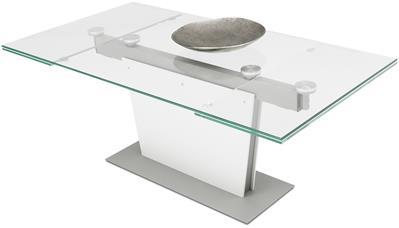 design eettafel met glazen tafelblad